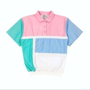 Vintage 70s Unisex Pastel Color Block Polo Shirt